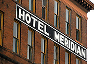 """The Hotel Meridian, no longer in operation, is pictured in downtown Meridian, Miss. on Jan. 9, 2011. The hotel is one of several that played a vital role in the city's early history as """"a child of the railroad.""""  (Photo by Carmen K. Sisson/Cloudybright)"""