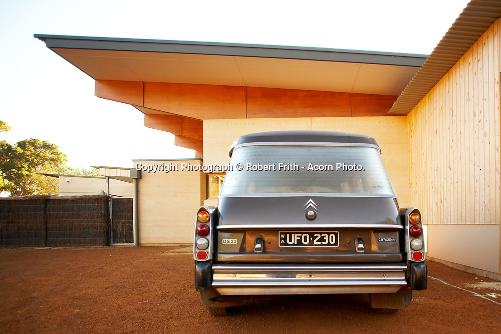 1974 DS 23 Citroen Safari with modernist timber house deigned by Architect Tim Wright