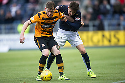 Alloa Athletic's Michael Doyle and Falkirk's Luke Leahy. <br /> half time : Falkirk 3 v 0 Alloa Athletic, Scottish Championship game played at The Falkirk Stadium.