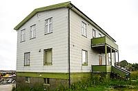 Norway, Lofoten. Kabelvåg village in Vågan municipality on the southern shore of Austvågøy island. Eternit house.