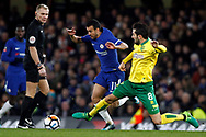 Mario Vrancic of Norwich City (R) tackles Pedro of Chelsea (L). The Emirates FA Cup, 3rd round replay match, Chelsea v Norwich City at Stamford Bridge in London on Wednesday 17th January 2018.<br /> pic by Steffan Bowen, Andrew Orchard sports photography.