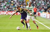 26/08/14 UEFA CHAMPIONS LEAGUE PLAY-OFF 2ND LEG<br /> CELTIC v NK MARIBOR<br /> <br /> Celtic's Jo Inge Berget (right) battles with Petar Stojanovic<br /> <br /> Norway only<br /> INNGÅR IKKE I FASTAVTALER , KUN STYKKPRIS