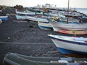 Italy, Sicily, Fishing boats on the coast near Taormina