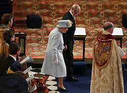 Queen Elizabeth II and the Duke of Edinburgh arrive for the wedding of Princess Eugenie to Jack Brooksbank at St George's Chapel in Windsor Castle.