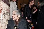 YOHJI YAMAMOTO'S MOTHER, Yohji Yamamoto exhibition opening. V & A Museum. London. 10 March 2011. -DO NOT ARCHIVE-© Copyright Photograph by Dafydd Jones. 248 Clapham Rd. London SW9 0PZ. Tel 0207 820 0771. www.dafjones.com.