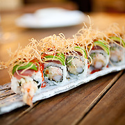 """Scottsdale's Roka Akor features Robatayaki style """"open charcoal"""" cuisine. They specialize in prime steak and sushi and were voted one of the Top 10 Sushi Spots in the United States by Bon Appetit. Pictured is crispy tuna taro roll...Roka Akor is located at 7299 North Scottsdale Road  Paradise Valley, AZ 85253"""