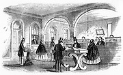 Morse telegraph. [1859].  The public reception room where telegraph messages could be sent and received, Cincinnati, Ohio. From 'The Telegraph Manual'' by TP Shaffner. (New York 1859). Credit Smithsonian Institution, Washington. Engraving.