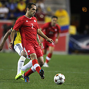 Pedro Pacheco DeMelo, Canada, in action during the Colombia Vs Canada friendly international football match at Red Bull Arena, Harrison, New Jersey. USA. 14th October 2014. Photo Tim Clayton