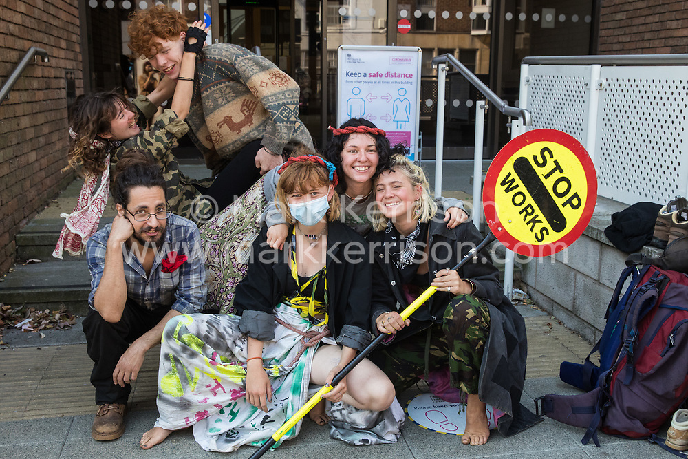 Young environmental activists from HS2 Rebellion prepare to attend a hearing at High Wycombe Magistrates Court on 10th August 2020 in High Wycombe, United Kingdom. The activists, who are predominantly teenage and who are opposed to the controversial HS2 high-speed rail link, had been arrested whilst standing on a bridge on a public footpath in Denham Country Park by police officers using the Trade Union and Labour Relations Act.