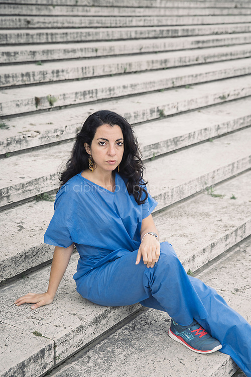 NYTVIRUS<br /> NAPLES, ITALY - 3 MAY 2020: Dania Sannino (33), an anesthesiologist. poses for a portrrait at the end of her shift at the Cardarelli hospital in Naples, Italy, on May 3rd 2020
