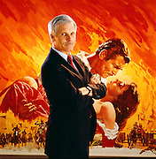 Ted Turner at CNN headquarters in Atlanta with Gone with the Wind poster.<br /> Ted Turner was notorious for colorizing old movies he inherited when he bought MGM studios.