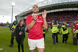May 20, 2017 - Limerick, Irland - Simon Zebo of Munster celebrates after the Guinness PRO12 Semi-Final match between Munster Rugby and Ospreys at Thomond Park Stadium in Limerick, Ireland on May 20, 2017  (Credit Image: © Andrew Surma/NurPhoto via ZUMA Press)
