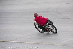 Billy Lane on the track at his Sons of Speed vintage motorcycle racing during Biketoberfest. Daytona Beach, FL, USA. Saturday October 21, 2017. Photography ©2017 Michael Lichter.