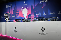 NYON, SWITZERLAND - Monday, December 14, 2020: A general view of the draw table with the European Cup trophy before the UEFA Champions League 2020/21 Round of 16 draw at the UEFA Headquarters, the House of European Football. (Photo Handout/UEFA)
