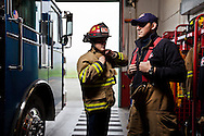 Fire fighters at a firehouse funded by the Stillaguamish Tribe in western Washington state.