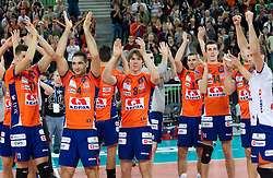 Players of ACH celebrate after the volleyball match between ACH Volley LJUBLJANA and Budvanska Rivijera BUDVA.of 2012 CEV Volleyball Champions League, Men, League Round in Pool F, 2nd Leg, on October 26, 2011, in Arena Stozice, Ljubljana, Slovenia.  ACH Volley defeated Budvanska Rivijera 3-2. (Photo by Vid Ponikvar / Sportida)