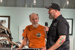 BMW' Motorcycles' Head of Vehicle Design Ola Stenegard and Michael Lichter at the Naked Truth exhibition's industry party at the Buffalo Chip gallery during the 75th Annual Sturgis Black Hills Motorcycle Rally.  SD, USA.  August 5, 2015.  Photography ©2015 Michael Lichter.