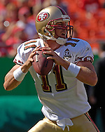 San Francisco quarterback Alex Smith drops back to pass against Kansas City at Arrowhead Stadium in Kansas City, Missouri October 1, 2006.  The Chiefs beat the 49ers 41-0.