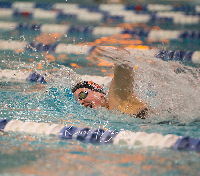 Concord's Alaina Pribis swims the 200 yard Freestyle at UNH Sunday afternoon during the NHIAA Division I Swimming and Diving Championships.   (Karen Bobotas/for the Concord Monitor)