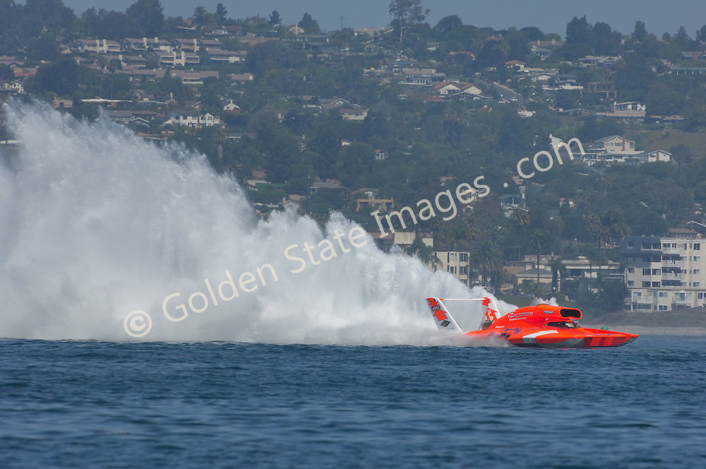 Each year in September the unlimited hydroplanes return to San Diego's Mission Bay to put on a show.<br /> <br /> The unlimited boats were once powered by World War II vintage Alison V12 piston engines used in P51 Mustang and other fighter planes. The current generation of boats use jet turbine engines. Their average speed on the 2.5 mile course exceed 150 MPH.<br /> <br /> Although it doesnt always happen side by side racing is what the fans come to see.