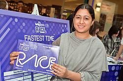 "Cadburys Spots vs Stripes Challenge Race Season Meadowhall Sheffield.Nakita takes second place in the ""fastest doodler"".2 April 2011.Images © Paul David Drabble"