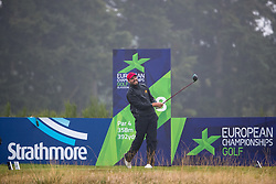Spain's David Borda tees off at the 8th hole during his semi final match with Iceland this morning during day eleven of the 2018 European Championships at Gleneagles PGA Centenary Course. PRESS ASSOCIATION Photo. Picture date: Sunday August 12, 2018. See PA story GOLF European. Photo credit should read: Kenny Smith/PA Wire. RESTRICTIONS: Editorial use only, no commercial use without prior permission