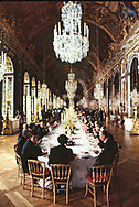 Dinner at the Economic Summit in France held at the Palace of Versailles in 1982<br />Photo by Dennis Brack. bb77