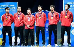 May 6, 2018 - Halmstad, SVERIGE - 180506 Kinas lag med sina guldmedaljer pÃ¥ prisutdelningen under dag 8 av Lag-VM i Bordtennis den 6 maj 2018 i Halmstad  (Credit Image: © Carl Sandin/Bildbyran via ZUMA Press)