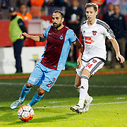 Trabzonspor's Erkan Zengin (L) during their Turkish Super League match Trabzonspor between Gaziantepspor at the Avni Aker Stadium at Trabzon Turkey on Wednesday, 28 October 2015. Photo by Aykut AKICI/TURKPIX