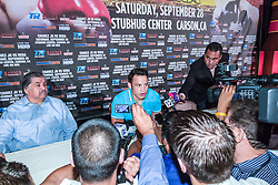 LOS ANGELES, California/USA (Friday, Aug 23 2013) - Pro boxer Julio Cesar Chavez Jr (46-1-1, 32 KOs) fields questions for the media during the press conference at the Millenium Biltmore Hotel to announce the Chavez jr vs Vera fight next September 28 at the StubHub Center in Carson, CA. Los Angeles,CA USA. 29th August 2013. Fees must be agreed for image use. Byline, credit, TV usage, web usage or linkback must read: © SILVEXPHOTO.COM.