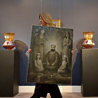 """London """"7th March 2009 Sotheby ' s Art of the Islamic World Sale on April 1st  The Sale include  a  very rare portrait of Ali by Isma'il artisit  Jalayr...Standard Licence feee's apply  to all image usage.Marco Secchi - Xianpix tel +44 (0) 845 050 6211 .e-mail ms@msecchi.com .http://www.marcosecchi.com"""
