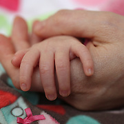 The tiny hands of a two month old baby girl in her mother hand while asleep. Photo Tim Clayton