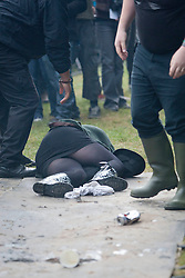 A member of the crowd hurt at the Crystal Castles on the main stage..Crystal Castles on the main stage, at Rockness, Friday 11th June..Pic ©2010 Michael Schofield. All Rights Reserved.