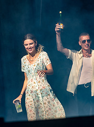 Wolf Alice's Ellie Rowsell and Theo Ellis arrive on the main stage, Saturday 30th June at TRNSMT 2018.