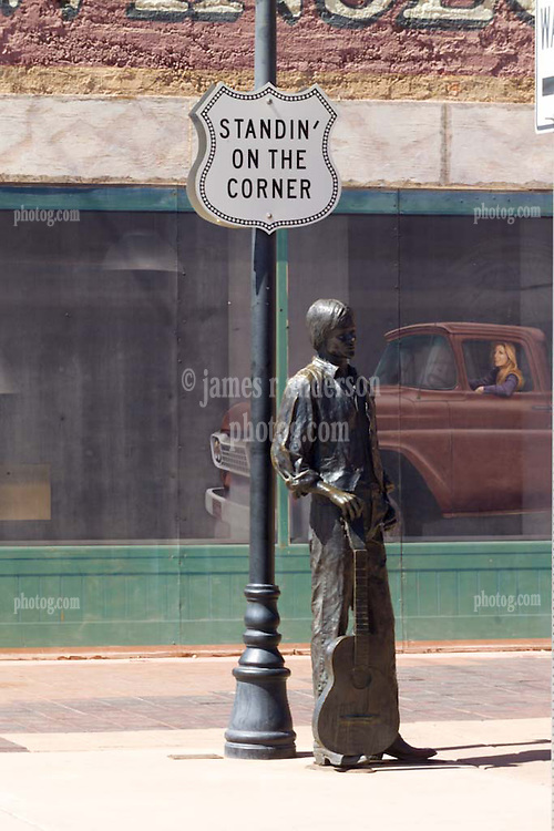 """""""Standing on the Corner"""" in Winslow Arizona Statue. 24 March 2008"""
