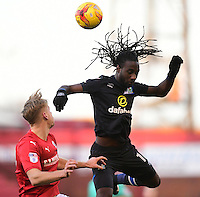 Blackburn Rovers' Marvin Emnes vies for possession with Barnsley's Marc Roberts<br /> <br /> Photographer Chris Vaughan/CameraSport<br /> <br /> The EFL Sky Bet Championship - Barnsley v Blackburn Rovers - Monday 26th December 2016 - Oakwell Stadium - Barnsley<br /> <br /> World Copyright © 2016 CameraSport. All rights reserved. 43 Linden Ave. Countesthorpe. Leicester. England. LE8 5PG - Tel: +44 (0) 116 277 4147 - admin@camerasport.com - www.camerasport.com