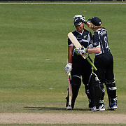 Suzie Bates is congratulated by Haidee Tiffen after reaching 150 runs during the match between New Zealand and Pakistan in the Super 6 stage of the ICC Women's World Cup Cricket tournament at Drummoyne Oval, Sydney, Australia on March 19, 2009. New Zealand won the match by 223 runs. Photo Tim Clayton