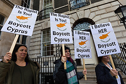 © Licensed to London News Pictures. 06/01/2020. London, UK. Demonstrators stage a protest outside the Cypriot embassy in London in support of the British woman and alleged rape victim who will be sentenced on Tuesday for allegedly lying about being gang-raped in Cyprus last year. Photo credit: Vickie Flores/LNP