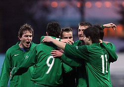 Players of Slovenia celebrate during Friendly match between U-21 National teams of Slovenia and Romania, on February 11, 2009, in Nova Gorica, Slovenia. (Photo by Vid Ponikvar / Sportida)