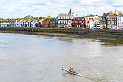 Chiswick, Greater London, UK., 11th October 2020, General View, Pair Shooting Barnes Rail Bridge, , Pairs Head of the River Race, Restricted entry and Shortened Course, COVID-19,  Barnes Bridge and Dukes Meadows location, [Mandatory Credit: Peter Spurrier/Intersport Images]