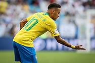 Neymar of Brazil celebrates after the 1-0 goal during the 2018 FIFA World Cup Russia, round of 16 football match between Brazil and Mexico on July 2, 2018 at Samara Arena in Samara, Russia - Photo Thiago Bernardes / FramePhoto / ProSportsImages / DPPI