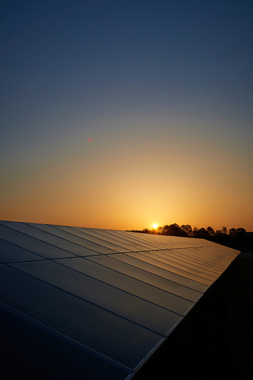 Solar Panels at sunset. Halifax, NC installation