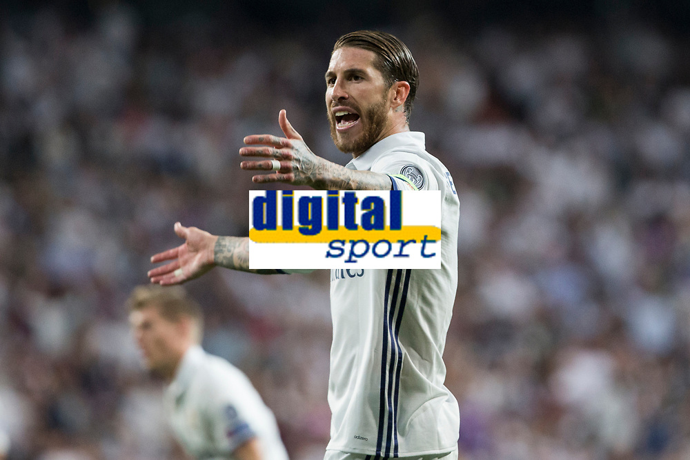 Sergio Ramos of Real Madrid reacts during the match of Champions League between Real Madrid and FC Bayern Munchen at Santiago Bernabeu Stadium  in Madrid, Spain. April 18, 2017. (ALTERPHOTOS)