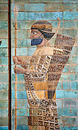 Coloured glazed terracotta brick panels depicting Achaemenid Persian royal bodyguards or archers. From the reign of Darius 1st and the First Persian or Achaemenid Empire around 510 BC excavated from the Palace of Daius 1st Susa, present day Iran. Susa was one of the residential cityes of the Achaemenid Kings. The Palaces are noteworthy for their elaborate decorations which can be considered exemplary of art at a royal court. The walls of Darius's palace at Susa were embellished with colourful reliefs made from glazed bricks on the Babylonian model. It is not certain which rooms of the palace was decorated with representations of a procession of royal bodyguards or archers, dressed in richly decorative costumes. Inv Ab3312-21, The Louvre Museum, Paris. .<br /> <br /> If you prefer to buy from our ALAMY PHOTO LIBRARY  Collection visit : https://www.alamy.com/portfolio/paul-williams-funkystock/persian-antiquities.html  <br /> <br /> Visit our ANCIENT WORLD PHOTO COLLECTIONS for more photos to download or buy as wall art prints https://funkystock.photoshelter.com/gallery-collection/Ancient-World-Art-Antiquities-Historic-Sites-Pictures-Images-of/C00006u26yqSkDOM