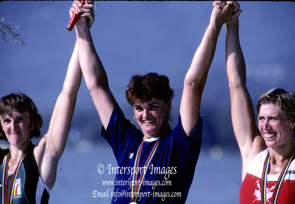 Barcelona Olympics 1992 - Lake Banyoles, SPAIN, ROM, W1X Medals Gold, LIPA, Elisabeta, BEL,  W1X, Silver BREDAEL, Annelies, CAN W1X Bronze, LAUMANN, Silken Suzette.  Photo: Peter Spurrier