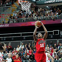 05 August 2012: USA Tamika Catchings takes a jumpshot during 114-66 Team USA victory over Team China, during the women's basketball preliminary, at the Basketball Arena, in London, Great Britain.