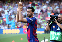 August 15, 2018 - Barcelona, Spain - Sergio Busquets during the presentation of the team 2018-19 before the match between FC Barcelona and C.A. Boca Juniors, corresponding to the Joan Gamper trophy, played at the Camp Nou, on 15th August, 2018, in Barcelona, Spain. (Credit Image: © Joan Valls/NurPhoto via ZUMA Press)