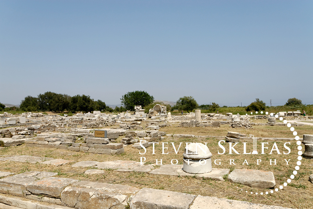Iraion. Samos. Greece. Ruins of the Monopteros and Hekatompedos and Roman Temple of Hera at the sanctuary of Heraion