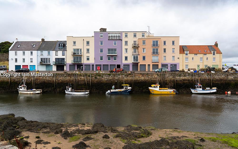 Modern apartment block at St Andrews harbour in Fife, Scotland, UK
