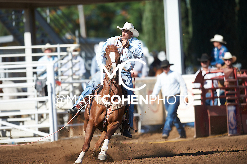 Team roper Landon McClaugherty of Tilden, TX competes at the Clovis Rodeo in Clovis, CA.<br /> <br /> <br /> UNEDITED LOW-RES PREVIEW<br /> <br /> <br /> File shown may be an unedited low resolution version used as a proof only. All prints are 100% guaranteed for quality. Sizes 8x10+ come with a version for personal social media. I am currently not selling downloads for commercial/brand use.
